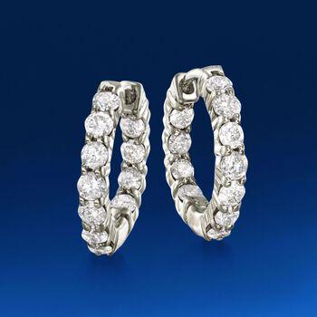 """1.00 ct. t.w. Diamond Inside-Outside Hoop Earrings in 14kt White Gold. 1/2"""", , default"""