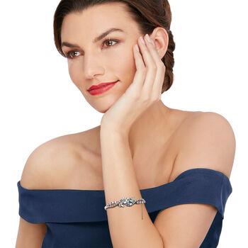 "C. 1970 Vintage 3.00 ct. t.w. Aquamarine and 2.40 ct. t.w. Diamond Bangle Bracelet in 14kt White Gold. 7"", , default"