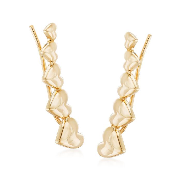 14kt Yellow Gold Heart Ear Climbers, , default