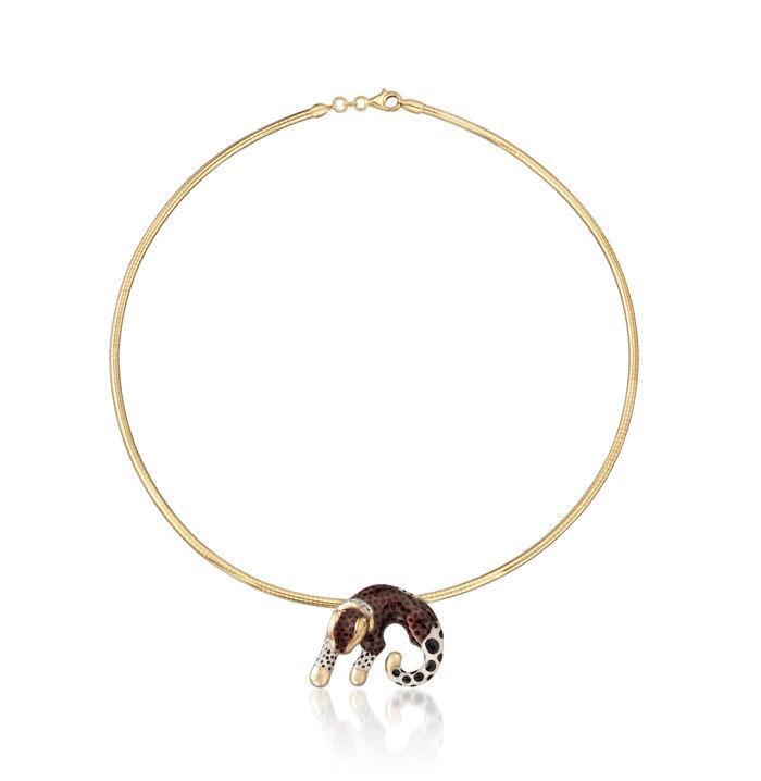18kt Gold Over Sterling Leopard Slide Pendant Necklace with Diamond Accent, , default