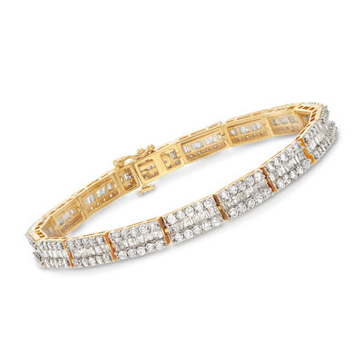 6.00 ct. t.w. Baguette and Round Diamond Bracelet in 18kt Gold Over Sterling