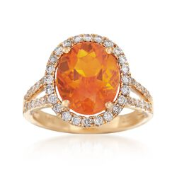 Fire Opal and .76 ct. t.w. Diamond Ring in 18kt Yellow Gold, , default