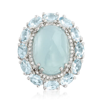 13.20 ct. t.w. Aquamarine and .28 ct. t.w. Diamond Ring in Sterling Silver, , default