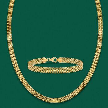 Italian 18kt Yellow Gold Bismark-Link Necklace, , default