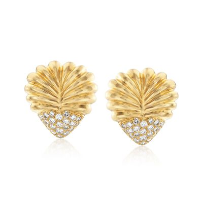 C. 1980 Vintage Henri Carre 2.20 ct. t.w. Diamond Ribbed Heart Earrings in 18kt Yellow Gold, , default