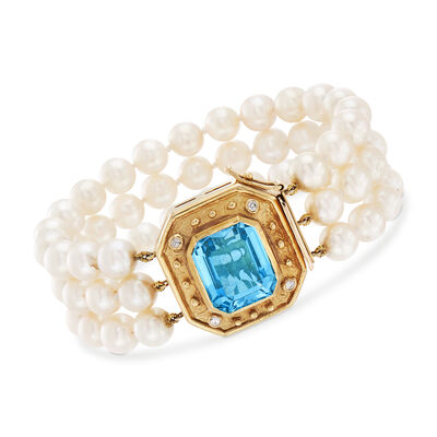 C. 1980 Vintage Cultured Pearl and 11.60 Carat Blue Topaz Bracelet in 14kt Yellow Gold, , default