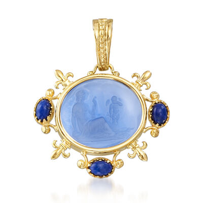Italian Tagliamonte Blue Venetian Glass Intaglio and Lapis Pendant in 18kt Gold Over Sterling