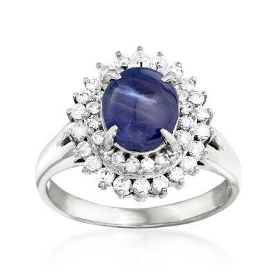 C. 1980 Vintage 2.90 Carat Star Sapphire and .59 ct. t.w. Diamond Ring in Platinum, , default