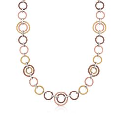 "ALOR Tri-Colored Cable-Link Necklace With 18kt White Gold. 36"", , default"