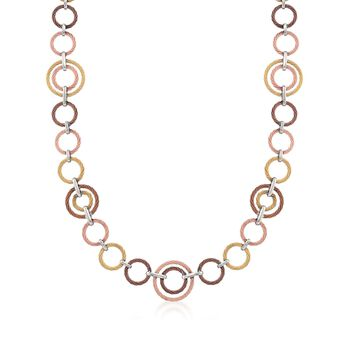 """ALOR Tri-Colored Cable-Link Necklace With 18kt White Gold. 36"""", , default"""
