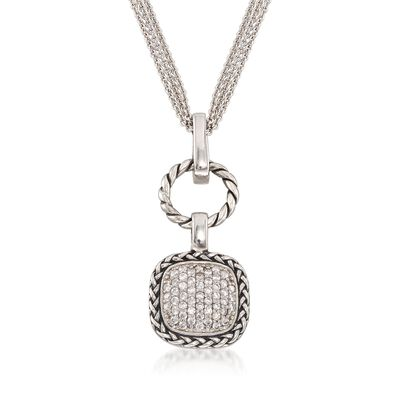 .50 ct. t.w. CZ Square and Open Circle Pendant Necklace in Sterling Silver, , default