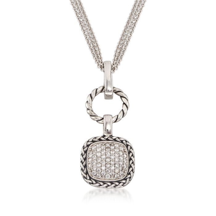 .50 ct. t.w. CZ Square and Open Circle Pendant Necklace in Sterling Silver