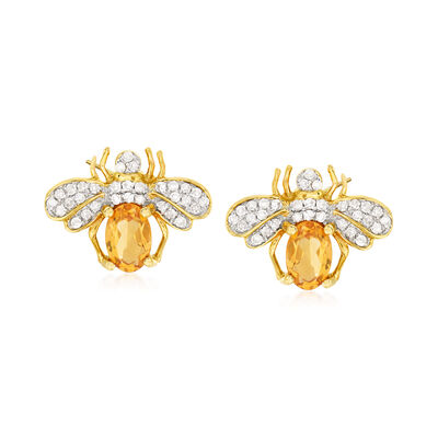 .80 ct. t.w. Citrine and .25 ct. t.w. Diamond Bee Earrings in 14kt Yellow Gold