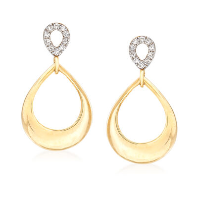 14kt Yellow Gold Open-Teardrop Earrings with Diamond Accents