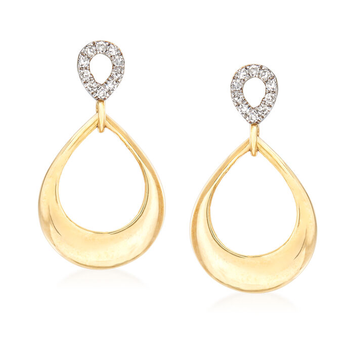 14kt Yellow Gold Open-Teardrop Earrings with Diamond Accents, , default