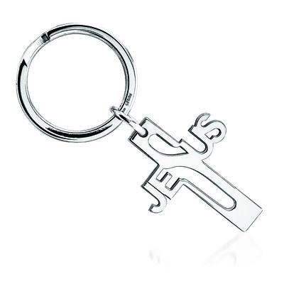 Sterling Silver  Jesus Cross Key Ring, , default