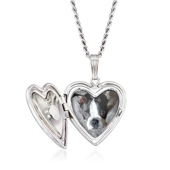 Heart and Paw Print Pet Memorial and Photo Locket Pendant Necklace in Sterling Silver, , default