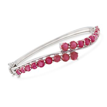 Ruby Bypass Bangle Bracelet in Sterling Silver, , default