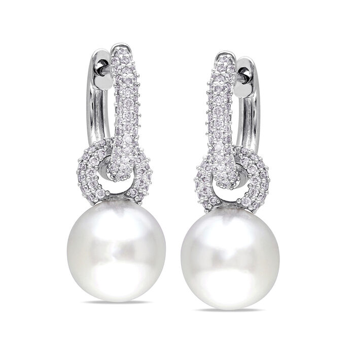 """9-9.5mm Cultured South Sea Pearl and .50 ct. t.w. Diamond Drop Hoop Earrings in 14kt White Gold. 7/8"""", , default"""