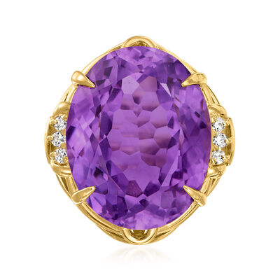 C. 1970 Vintage 22.68 Carat Amethyst and .13 ct. t.w. Diamond Ring in 18kt Yellow Gold