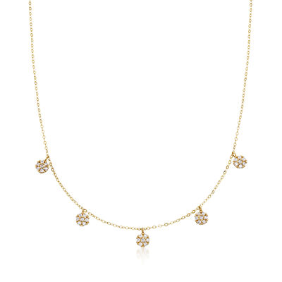 Italian .30 ct. t.w. CZ Cluster Drop Station Necklace in 14kt Yellow Gold