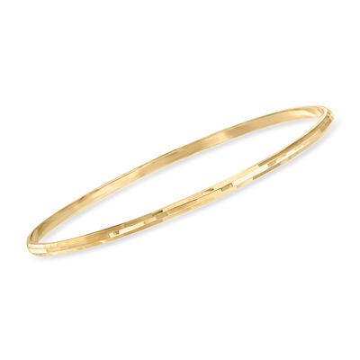 Italian Diamond-Cut 14kt Yellow Gold Bangle Bracelet, , default