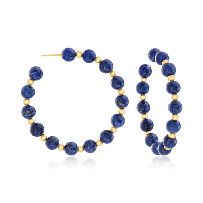 Lapis Bead Hoop Earrings in 14kt Yellow Gold, , default