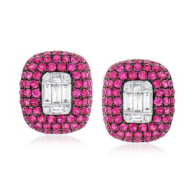 2.50 ct. t.w. Ruby and .45 ct. t.w. Diamond Earrings in 18kt White Gold, , default