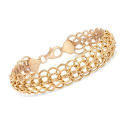"Italian 14kt Yellow Gold Interlocking Circle Link Bracelet. 8.25"", , default"