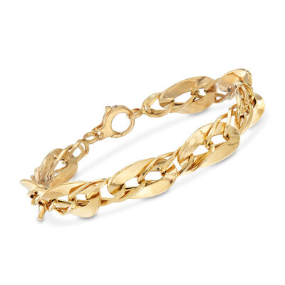 Italian 18kt Yellow Gold Small and Large Oval-Link Bracelet, , default