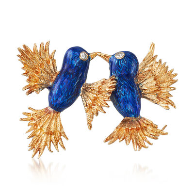 C. 1960 Vintage Blue Enamel Hummingbirds Pin in 18kt Yellow Gold, , default