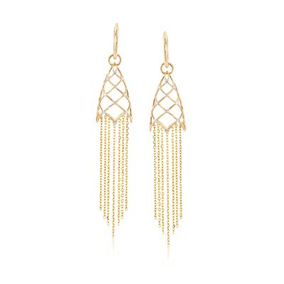 .17 ct. t.w. Diamond Geometric Fringe Drop Earrings in 14kt Yellow Gold , , default