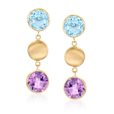 5.00 ct. t.w. Sky Blue Topaz and 4.00 ct. t.w. Amethyst Drop Earrings in 14kt Yellow Gold