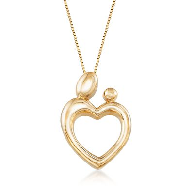 14kt Yellow Gold Mother's Embrace Heart Pendant Necklace, , default