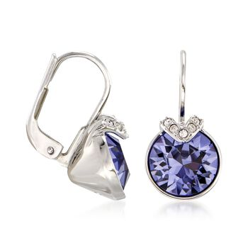"Swarovski Crystal ""Bella"" Purple and Clear Crystal V-Shaped Drop Earrings in Silvertone , , default"