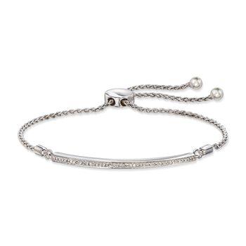.15 ct. t.w. Diamond Bar Bolo Bracelet in Sterling Silver, , default