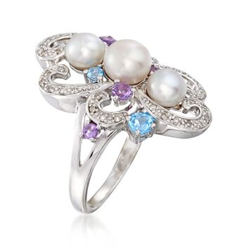 5-6.5mm Cultured Pearl and .50 ct. t.w. Multi-Stone Swirl Ring in Sterling Silver