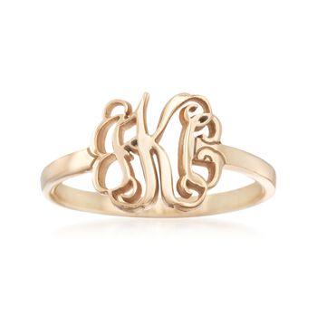 14kt Yellow Gold Monogram Ring, , default