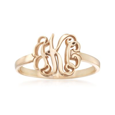14kt Yellow Gold Monogram Ring, , default