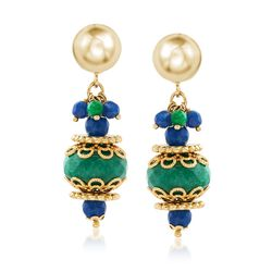 Italian Green and Blue Quartzite Bead Drop Earrings in 18kt Gold Over Sterling, , default