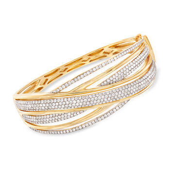 """5.00 ct. t.w. Diamond Crisscross Bangle Bracelet in 18kt Two-Tone Gold. 7"""", , default"""