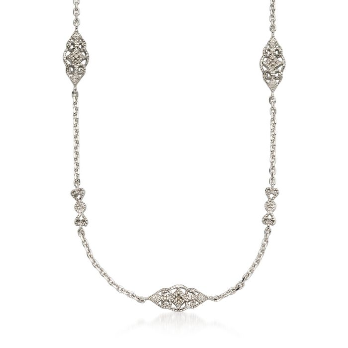 .20 ct. t.w. Diamond Filigree Station Necklace in Sterling Silver, , default