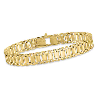 "Men's 14kt Yellow Gold Polished Link Bracelet. 8.5"", , default"