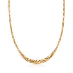 Italian 14kt Yellow Gold Graduated Link Necklace, , default