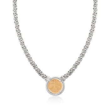 "Italian Two-Tone Sterling Silver Replica Lira Coin Byzantine Necklace. 20"", , default"