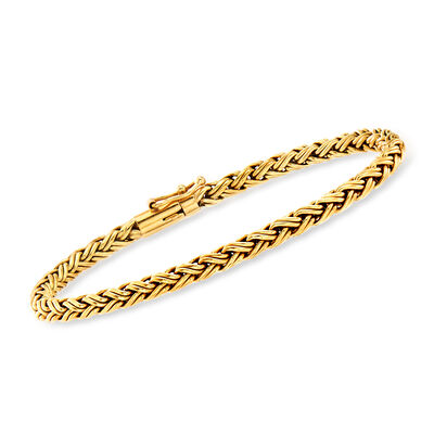 C. 1990 Vintage Tiffany Jewelry 18kt Yellow Gold Wheat-Link Bracelet, , default