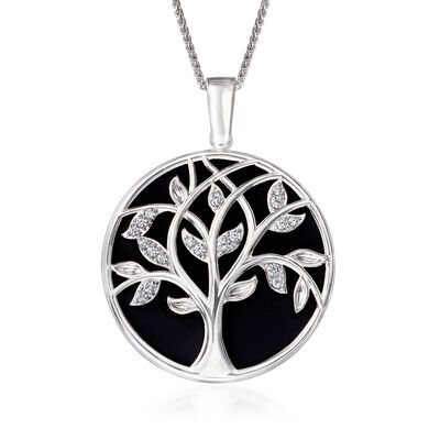 .70 ct. t.w. CZ Tree of Life Mirror and Magnifier Adjustable Necklace in Sterling Silver, , default
