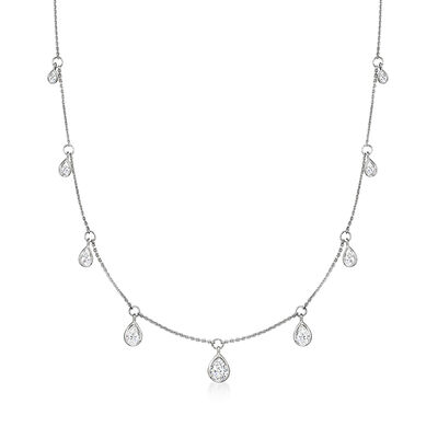 2.40 ct. t.w. Pear-Shaped CZ Station Necklace in Sterling Silver