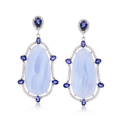 Blue Lace Agate and 2.60 ct. t.w. Iolite Drop Earrings With .50 ct. t.w. White Topaz in Sterling Silver, , default