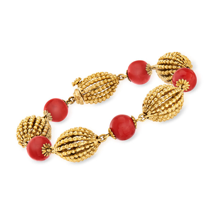 "C. 1970 Vintage Coral Bead and 18kt Yellow Gold Bracelet. 8"", , default"